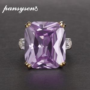 Image 2 - PANSYSEN Charms 14x16mm ametystowe pierścienie z kamieniami szlachetnymi dla kobiet mężczyzn oryginalna 925 Sterling Silver pierścionek zaręczynowy Fine Jewelry