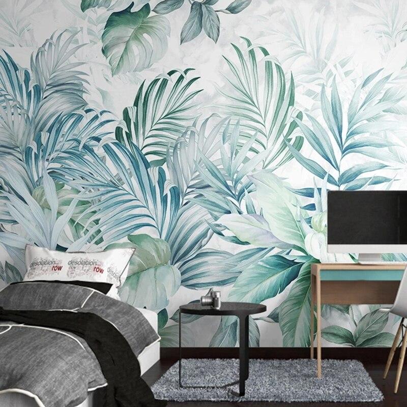 Фотообои 3D акварельные с тропическими растениями и листьями, Большие Настенные обои для кухни, гостиной, спальни, фона для телевизора, декор стен