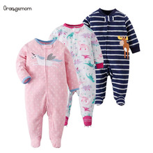 Infant Baby clothing 2019 baby girl clothes Newborn clothes fleece romper long-sleeve baby product infant boy clothes babies cheap OrangeMom Polyester cartoon O-Neck Covered Button Rompers Unisex Full Fits true to size take your normal size