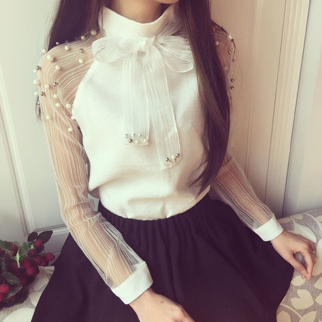 Women Style Bow Of Pearl White  Casual Chiffon Shirt Blouses Tops Tee Rk 2