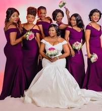 Новый фиолетовый Русалка платья невесты бретельках с открытыми плечами простой сад страна плюс размер свадебные гость платья фрейлина