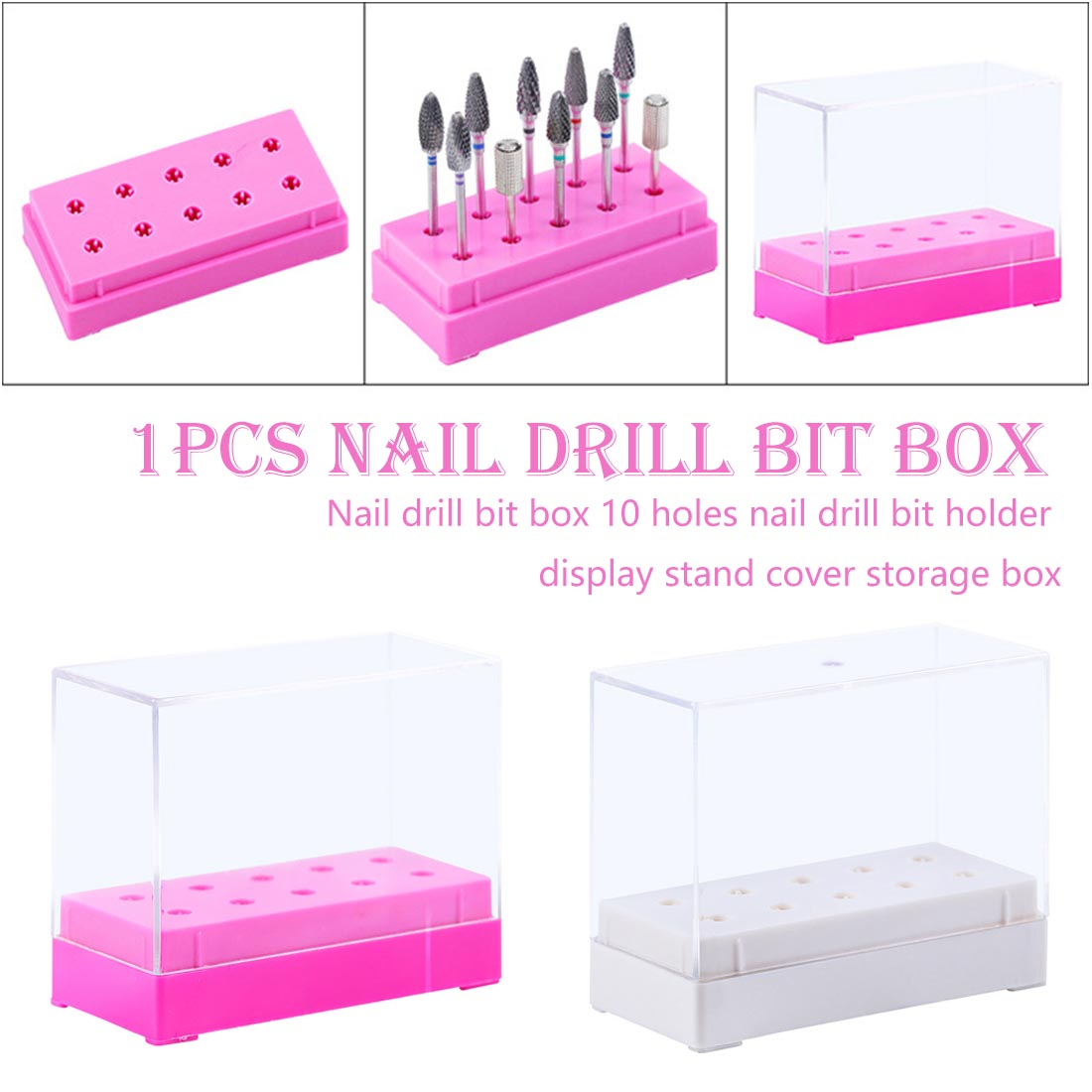 10 Slots Acrylic Manicure Tool Storage Box For Nail Drill Bit Files Holder Container Display Organizer