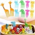 Креативные животные усадьба милый мини Bento знак ребенок фрукты вилка креативные пластиковые украшения знак 10 шт Жираф