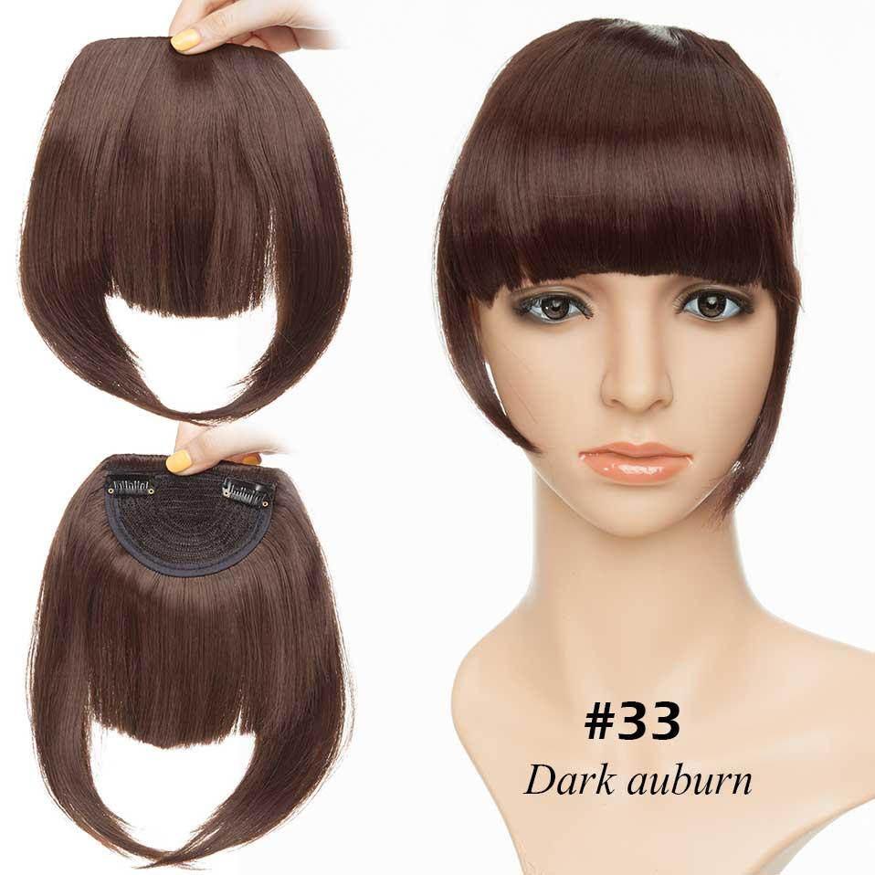 SNOILITE короткие передние тупые челки Клип короткая челка волосы для наращивания прямые синтетические настоящие натуральные накладные волосы - Цвет: dark  auburn