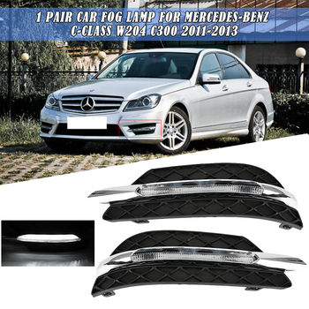 1 Pair DRL Car Fog Lamp for Mercedes-Benz C-Class W204 C300 2011-2013 Left & Right Front Bumper Grille Daytime Running Light image