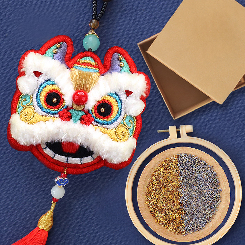 Embroidered DIY Ornaments Handmade Dancing Lion Material Package Ping an Fu Chinese Style Self-Embroidered Amulet Charm Pendant Gifts Sachet Car Sachet Lavender,Blue Dancing Lion
