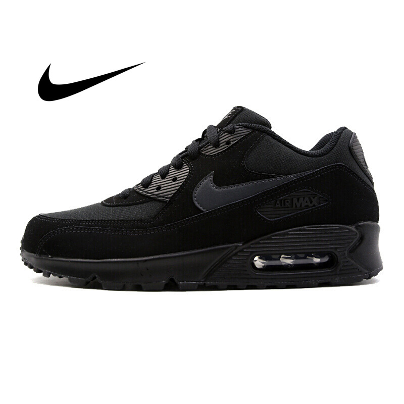 Original NIKE AIR MAX 90 ESSENTIAL Men's Running Shoes Black Outdoor Sneakers Damping Wear-resistant Good Quality AJ1285-011
