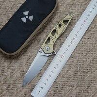 JK3331GD sky flip folding knife ball bearing D2 blade TC4 titanium handle outdoor camping multi purpose hunting EDC tool