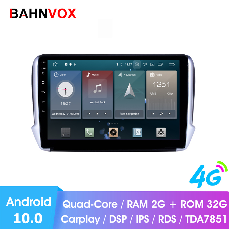 Автомобильный мультимедийный видеоплеер, магнитола 2 Din на Android 10 для Peugeot 10,1, 2008, 208, 2014, GPS, DVD, 2018