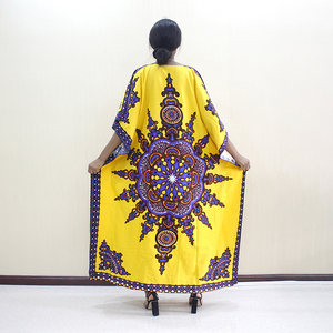 Image 2 - 2019 新加入到着ファッションアフリカ Dashiki 柄プリントの O ネックバットウィングスリーブ黄色純粋な綿女性のための