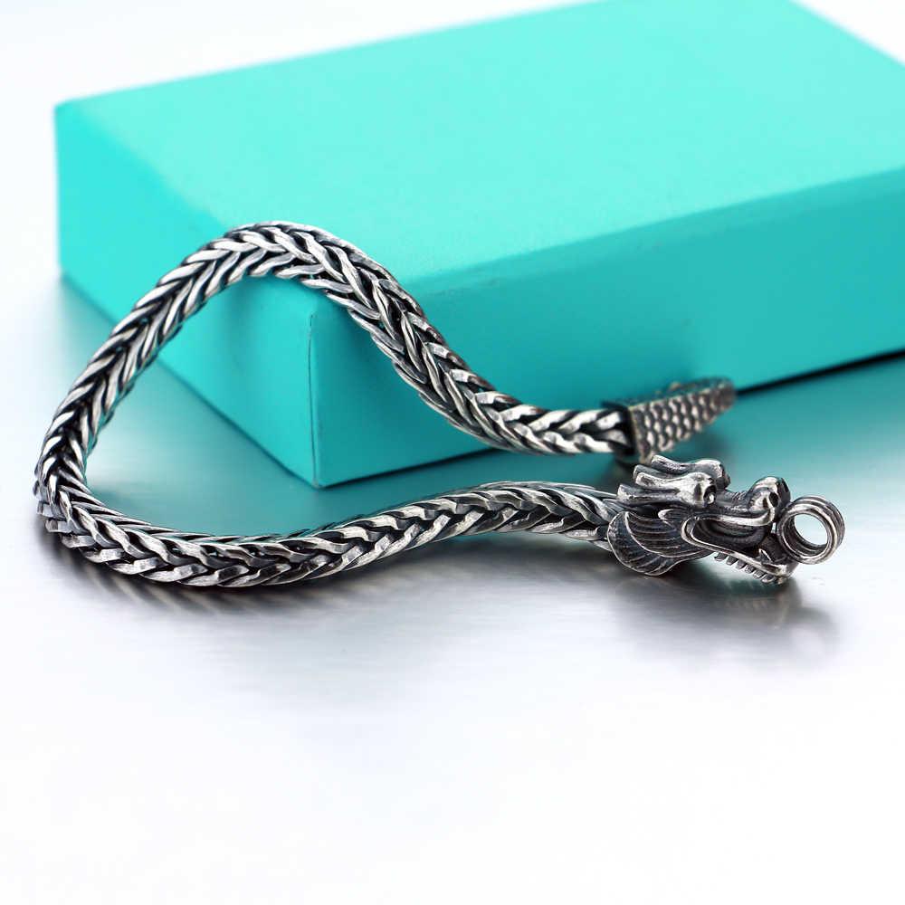 Uomini Shitai braccialetto in argento Coreano modelli maschili 925 braccialetto in argento sterling grossolani Vintage Thai silver Dragon Braccialetto dei monili