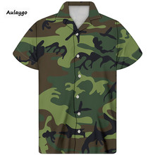 цена на Cuban Shirt For Men Camouflage Printed Turn-down Collar Short Sleeve Summer Clothes 2020 New Arrival For Men Big And Tall