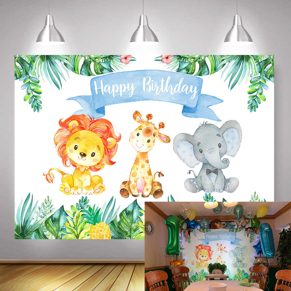Jungle Safari Foto Sullo Sfondo di Buon Compleanno Foresta Carino Elefante e Leone Fondali Animale 1st Birthday Party Decor Fotografia