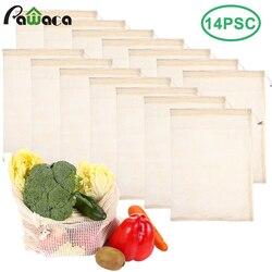 14pcs 6pcs Produzir Sacos De Malha Sacos de Vegetais de Cozinha de Algodão Reutilizáveis Lavável Compras De Frutas De Armazenamento Sacos de Supermercado com Cordão