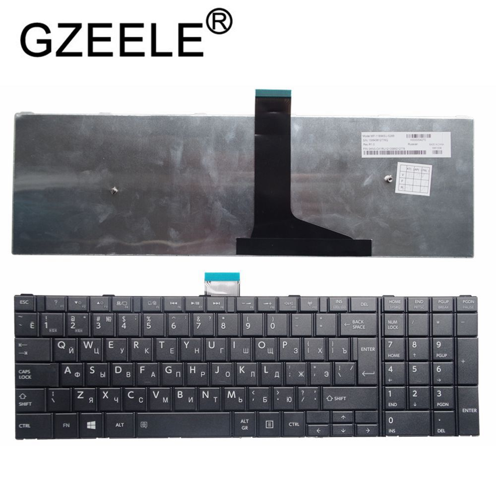 RU Keyboard for <font><b>Toshiba</b></font> <font><b>Satellite</b></font> C50-A C50-A506 C50D-A C55T-A <font><b>C55</b></font>-A C55D-A Russian Laptop Keyboard white/black image