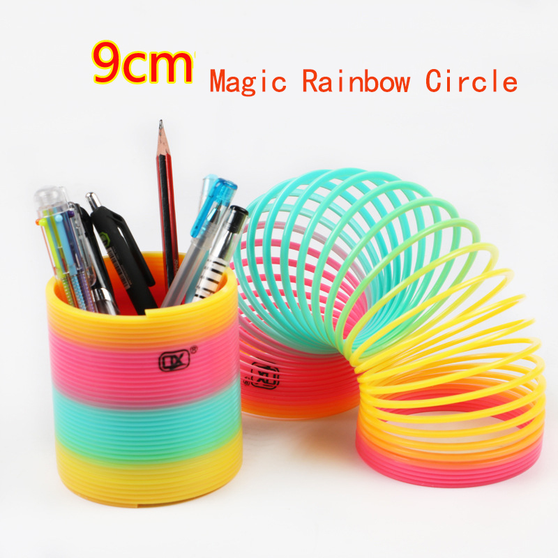 9CM Children's Creative Magical Toys Rainbow Circle Funny Toys Early Development Educational Folding Plastic Spring Coil Toys