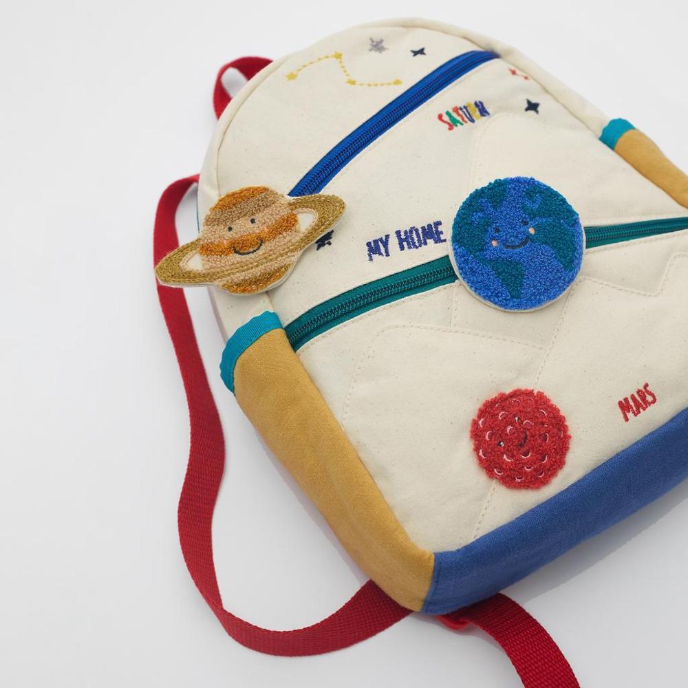 Новый детский хлопчатобумажный холщовый рюкзак с вышивкой земля Звезда шар милая девушка цвет сочетается Повседневная маленькая школьная сумка-3