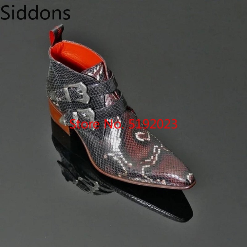 Snake Lines Men Ankle Boots Luxury Chelsea Boots Pointed Fashion Buckle Boots Zapatos De Hombre  Bota Coturnos Masculino D179