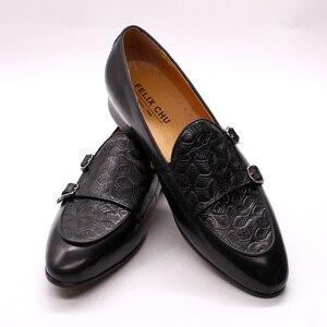 Image 2 - FELIX CHU Classic Monk Strap Mens Loaferหนังแท้สุภาพบุรุษงานแต่งงานCasualรองเท้าสีดำผู้ชายชุดรองเท้า