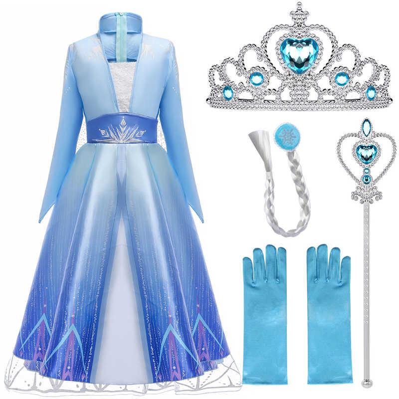 Elsa elbiseler kızlar prenses parti Elsa kostüm kar kraliçe 2 Cosplay Elza Vestidos saç aksesuarı seti cadılar bayramı kız giysileri