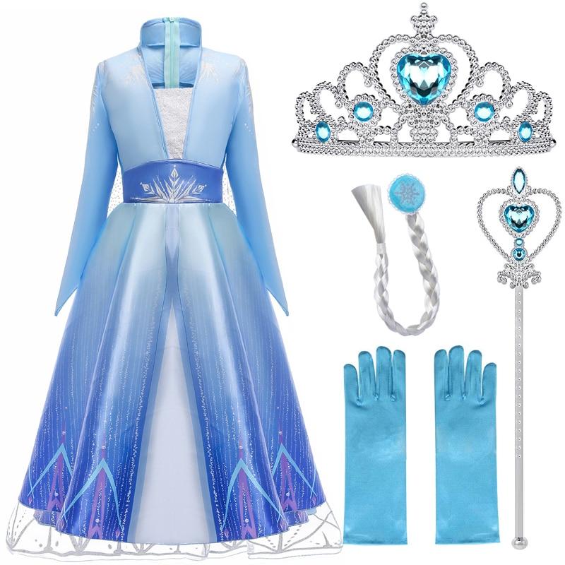 Elsa Dresses For Girls Princess Party Elsa Costume Snow Queen 2 Cosplay Elza Vestidos Hair Accessory Set Halloween Girls Clothes(China)