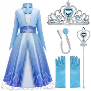 Elsa Dresses For Girls Princess Party Elsa Costume Snow Queen 2 Cosplay Elza Vestidos Hair Accessory Set Halloween Girls Clothes(China)