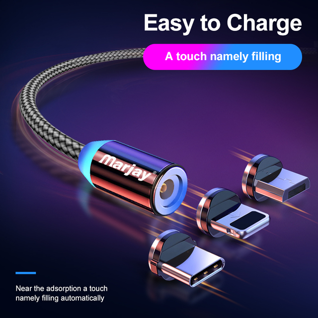 Marjay Magnetic Micro USB Cable For iPhone Samsung Android Fast Charging Magnet Charger USB Type C Cable Mobile Phone Cord Wire 2