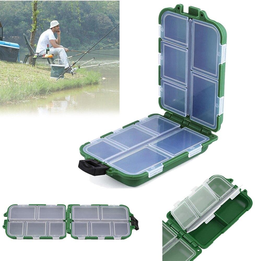 10 Compartments Storage Case Box Plastic Fishing Lure Hook Bait Small Accessory Box Square Fishhook Box Outdoor essential