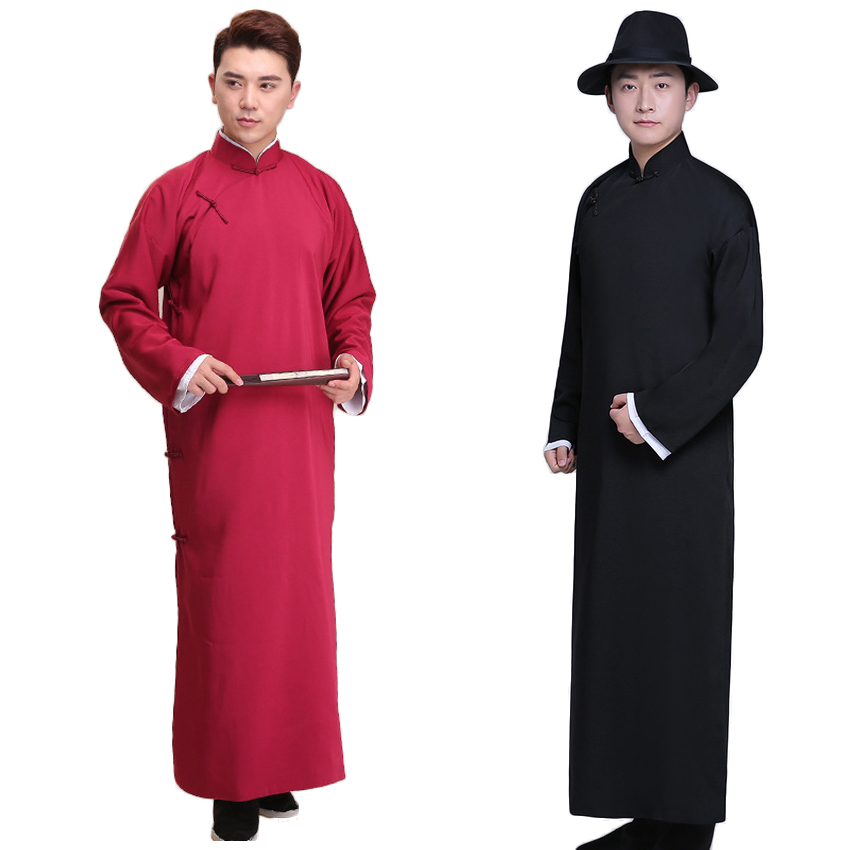 Polyester Chinese Traditional Tang Suit Long Gown For Man Full Sleeve Kung Fu Men Long Robe Wedding Bridegroom Stage Performance
