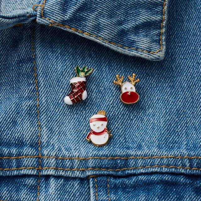 Фото 3 шт/компл веселое рождество броши рождественские носки с рождественским