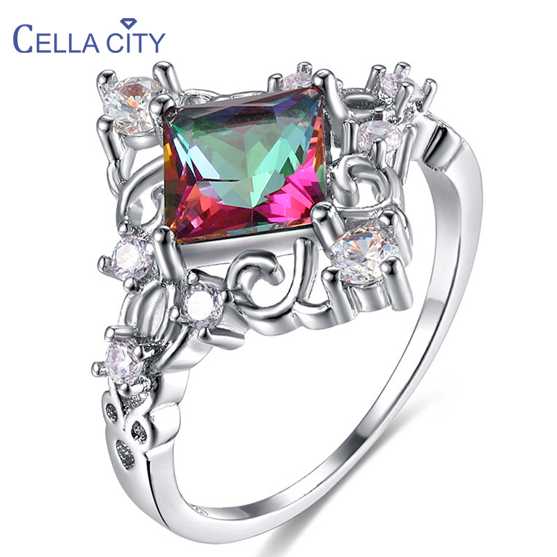 Cellacity Geometry Silver 925 Jewelry Gemstones Ring for Women Trendy Creative design Square Colors Topaz Women Gift Size6-10