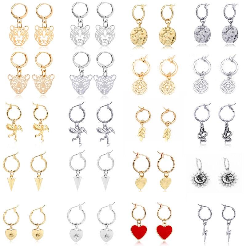 GEOMEE 1 Pair Trendy Simple Heart Leaves Animals Hoop Earrings For Women Cute Hollow Geometric Leopard Round Earrings Jewelry