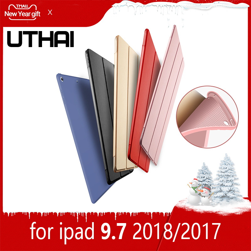 UTHAI E003S For iPad 9.7 Ultra-thin Magnetic Case 2018 Smart PU Leather Back Cover Protective Case Automatic Sleep / Wake Case image