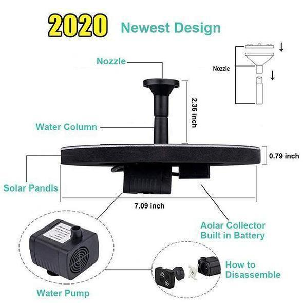 Solar Powered Submersible Or Floating Koi Pond Water Fountain  6