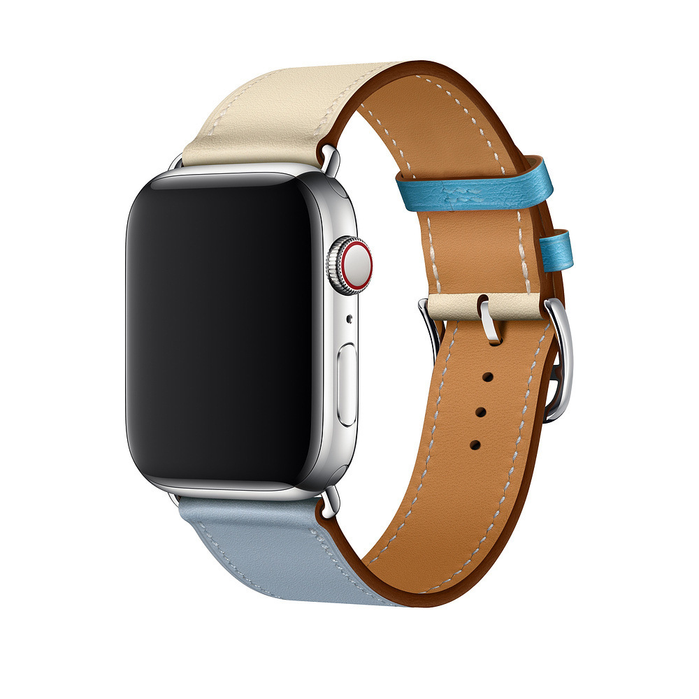 Suitable For Apple I Watch 1/2/3/4 Generation Hermes Single Loop Double Color Fashion Leather Watch Strap