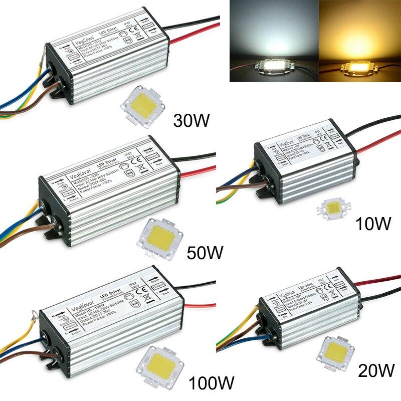 Воглибоovoi драйвер для светодиодов 10 Вт, 20 Вт, 30 Вт, 50 Вт, 100 Вт, водонепроницаемый с чипом AC100-260V 6500K/3500k для прожекторов, лампочек Highbay
