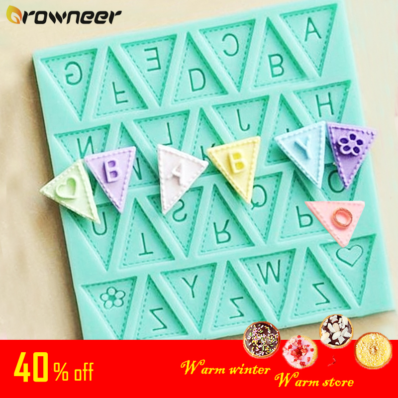 Letters Mold Triangle Alphabet Silicone Baking Mould Cupcake Decorating Tool Fondant Candy Chocolate Gumpaste Nonstick