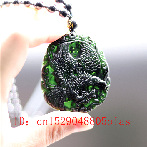 Natural Black Green Chinese Jade Eagle Pendant Obsidian Necklace Charm Jewelry Accessories Carved Amulet Gifts For Men