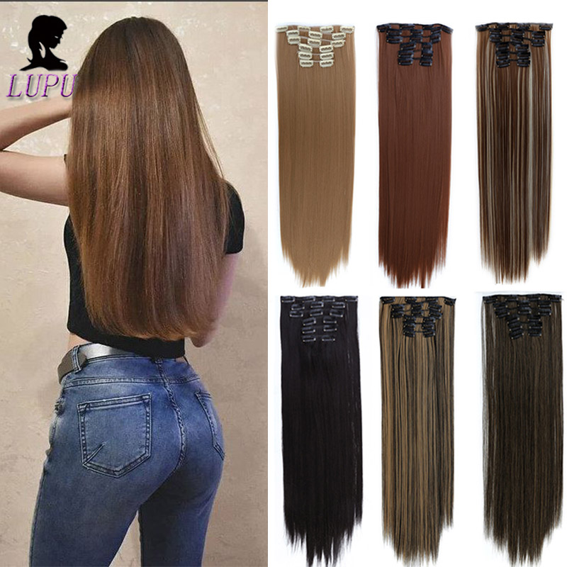 LUPU 6PCS/Set 16Clips Clip In Hair Extensions 24 Inches Long Straight Hair Pieces Heat Resistant Fiber For Women