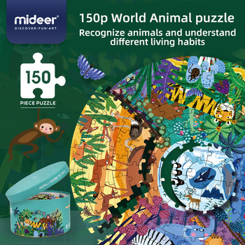 Mideer Children's Educational 150 piece animal around the world Jigsaw Puzzle Toys what the ladybird heard animal noises jigsaw book