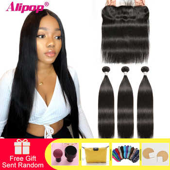 Straight Hair Bundles With Frontal Brazilian Human Hair Bundles with Closure Pre Plucked Remy Hair Lace Frontal With Bundles - DISCOUNT ITEM  57% OFF All Category