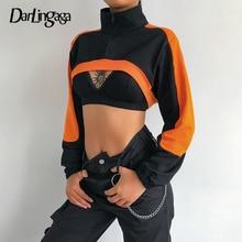 Women's Sweatshirts Clothing Hoodie Smock-Crop-Top Streetwear Zipper Pullover Turtleneck