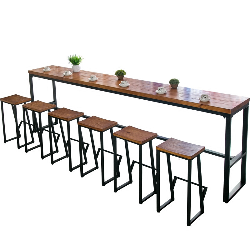 Tieyi American Solid Wood Bar Table Against The Wall Bar Bar Chair Family Long Table Bar High Foot Table Coffee Bar Table