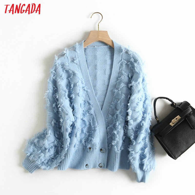 Tangada women tassels knitted cardigan sweaters long sleeve vintage lady 2019 winter jumper casual sweater BC23