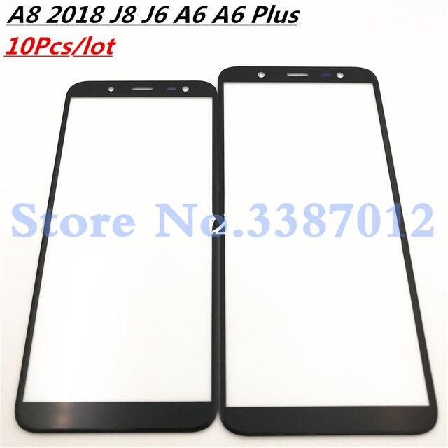 10 ピース/ロットフロントアウターガラスレンズサムスンギャラクシー A8 2018 J8 J6 A6 A6 プラス A730 A530 J810 J600 a600 A605 (NO LCD) タッチスクリーン