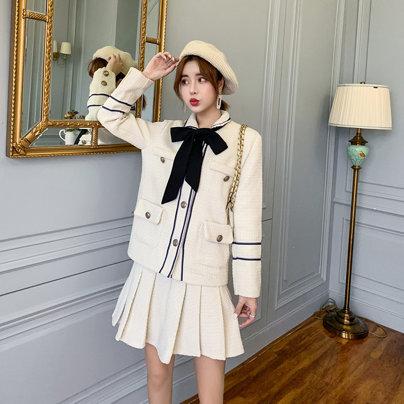 Ladies Suit Spring New Casual Fashion Suit Lace Bow Suit Jacket Women + Pleated Skirt Two-piece Temperament Women