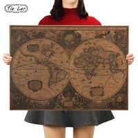 Retro Welt Karte Nautischen Ozean Karte Vintage Kraft Papier Poster Wand Diagramm Aufkleber Antique Home Decor Karte Welt 72,5*51,5 cm