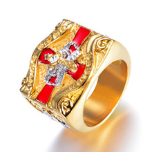 Freemasonry AG Finger Rings Crucifix Knight Templar Jewelry Stainless Steel Crown Anniversary Party Wedding Gifts