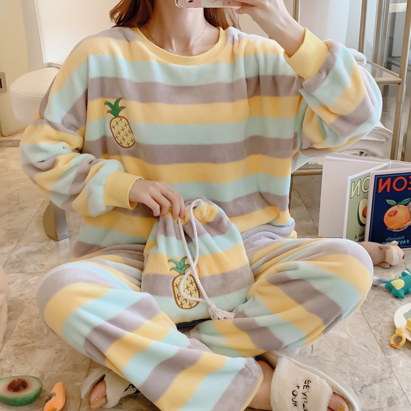 JULY'S SONG Women 2 Pieces Pajamas Set Spring Autumn Pyjamas Colorful Stripe Rainbow Long Sleeve Cute Sleepwear Casual Homewear
