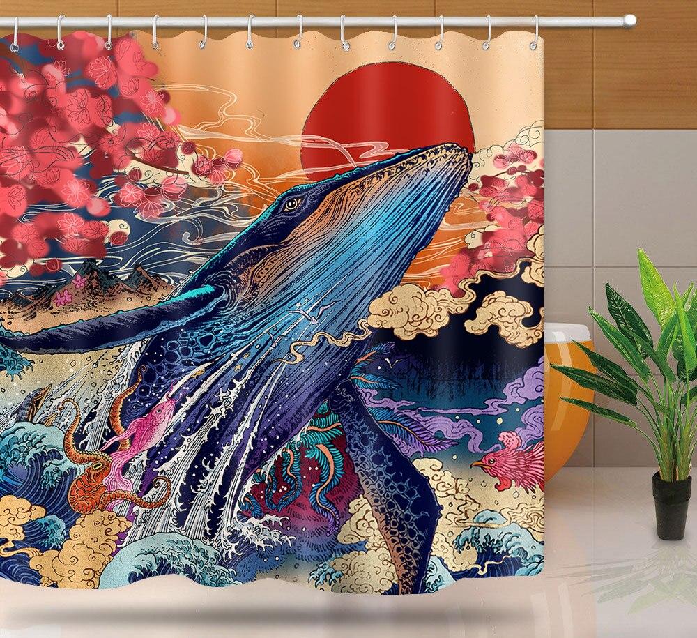 MTMETY Japanese Bath shower curtain Geisha Surf Bath Screens Curtains in the bathroom Samurai style shower curtain For bathroom